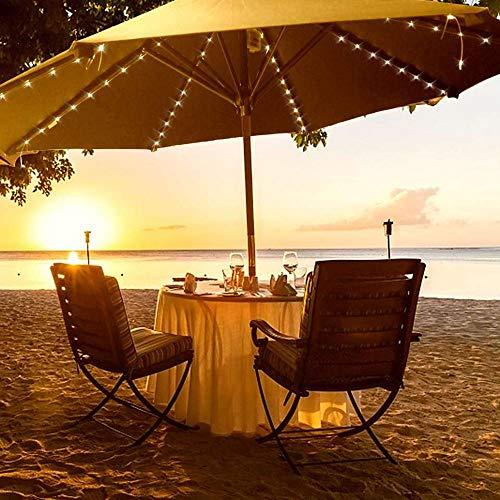 Sonnenschirm LED Beleuchtung, Warmweiß Kreativität Terrassenleuchten mit wasserdichtem Batteriekasten wiederaufladbares Licht für Außenbar Stranddekorationsleuchten