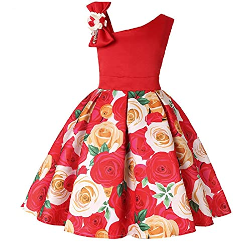 NIDONE Vestidos De Muchachas De Los Niños De Flor Rosa Princesa Vestido De 120 Cm Rendimiento Rojo del Partido del Festival