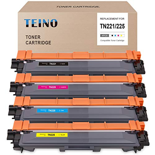 Price comparison product image TEINO Compatible Toner Cartridge Replacement for Brother TN221 TN225 TN-225 TN-221 use with Brother HL-3140CW 3170CDW 3150CDW MFC-9130CW 9340CDW 9330CDW 9140CDN (Black Cyan Magenta Yellow,  4-Pack)