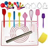 Silicone Spatulas Set, Rolling Pin, Cookie Cutters, Pastry Mat, Measuring Spoons and Cups, Dough Scraper, Cooking Baking Supplies for Teens Juniors Kids Adult Beginners(25-pieces)