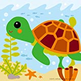 Diy oil painting, paint by number kits for kids - Little turtle 8'X 8'.