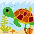 """Diy oil painting, paint by number kits for kids - Little turtle 8""""X 8""""."""