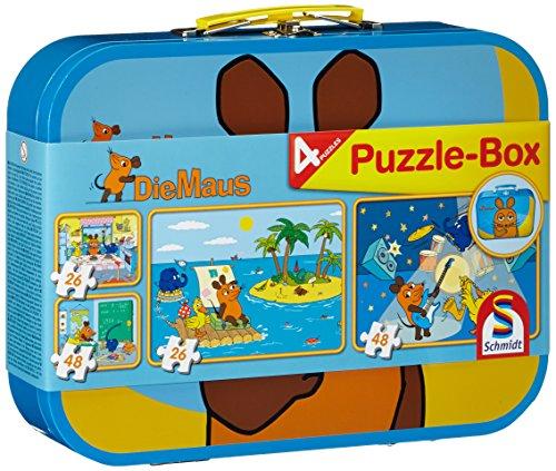 Schmidt Spiele 55597 Die Maus, 4 Kinderpuzzle im Metallkoffer, 2x26 2x48 Teile