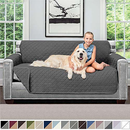 Sofa Shield Original Patent Pending Reversible Small Sofa Protector for Seat Width up to 62 Inch, Furniture Slipcover, 2 Inch Strap, Couch Slip Cover Throw for Pet Dogs, Cats, Sofa, Charcoal