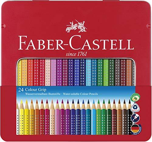 Faber castell bo/îte m/étal de 48  Crayons  de couleur  chateau inclus 1 gomme 1 taille crayon et 2 crayons grip