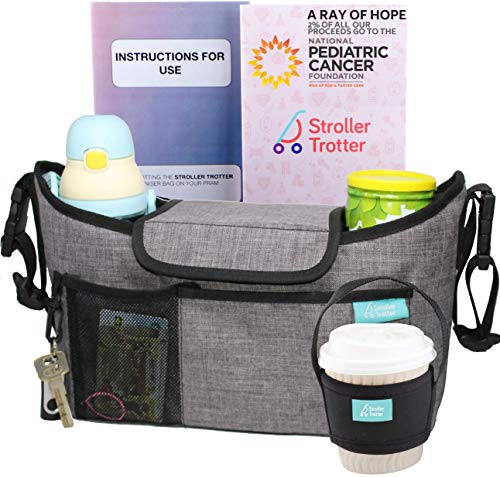 Universal Stroller Organizer with Expandable Diaper Bag and Cup Holders by Stroller Trotter Light Grey, L