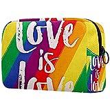 Neceser de Maquillaje Estuche Escolar para Cosméticos Bolsa de Aseo Grande,Guardians Love is Love LGBT Rainbow