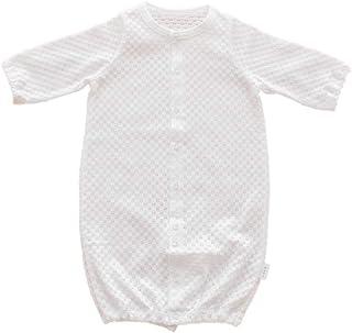 PUPO プーポ 透かし編み2wayドレス ホワイト/グリーン セレモニー 新生児 ベビー服 退院着 お宮参り 男の子 女の子 綿100% 50-60cm 日本製