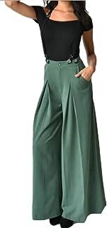0cafb9b71653 Yayu Womens Pleated High Waisted Wide Leg Palazzo Pants Suspenders Trousers