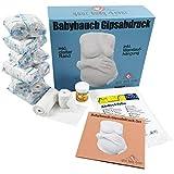 HALT MICH | Babybauch Gipsabdruck Set mit Armen/Händen | 3D Bauchabdruck inkl. Wandhalterung |1A Abformset mit 12 Gipsbinden und Detailanleitung