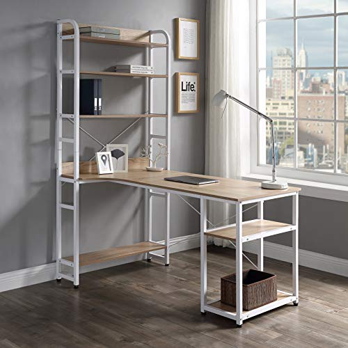 Modern Luxe L-Shaped Desk Corner with Bookshelf 2-Pieces Computer PC Table Set...