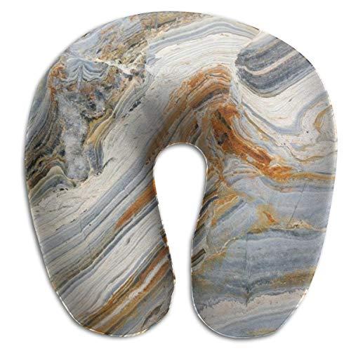 Almohada de Viaje en Forma de U Almohada de Viaje Mármol Tonos Mixtos Fondo de Roca de Colores Piedras Preciosas Elegancia Patrón único Azul Gris Jengibre Acogedor Descanso Cuello, mentón, Cojín para