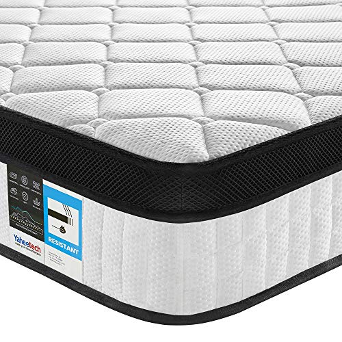 Yaheetech Double Mattress 4ft 6 Memory Foam Pocket Sprung Spring Mattress 9-Zone Orthopaedic Mattress with Anti-Allergy Knitted Fabric and Airy Mesh,Medium Firm,27cm Height,Vacuum Packed