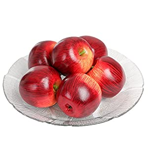 SENREAL Artificial Apples 6Pcs Fake Apples Red Realistic Plastic Apples Real Size Artificial Fruit for Home Kitchen Party Wedding Decoration Photography Prop