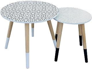ferro Tavolino basso con orologio 40,5 x 40,5 x 39 cm The Home Deco Factory HD6446 nero trasparente