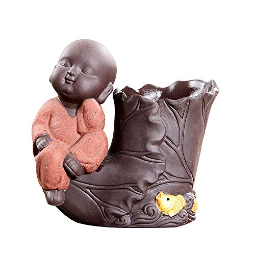 KINGZHUO Ceramic Baby Buddha Statue Monk Figurine Ornaments with Small Hydroponic Flower Pots Hydroponic Plant Vase Adorable Desktop Decoration (Type 2)