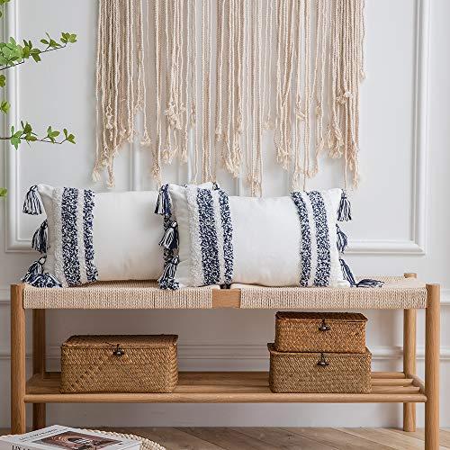 DEZENE Boho - Set di 2 federe per cuscino, in tessuto trapuntato, 100% cotone, rettangolare, con nappe, per divano, letto, decorazione casa, 30,5 x 50,5 cm, colore: blu navy