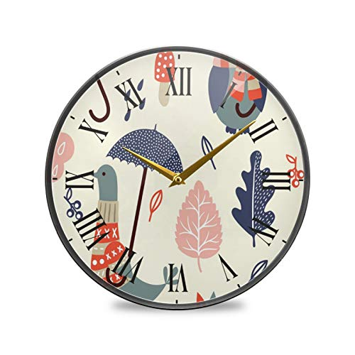 Paloma De Lluvia De Dibujos Animados Arte Reloj de Pared Silencioso Decorativo Relojs para Niños Niñas Cocina Hogar Oficina Escuela Decoración
