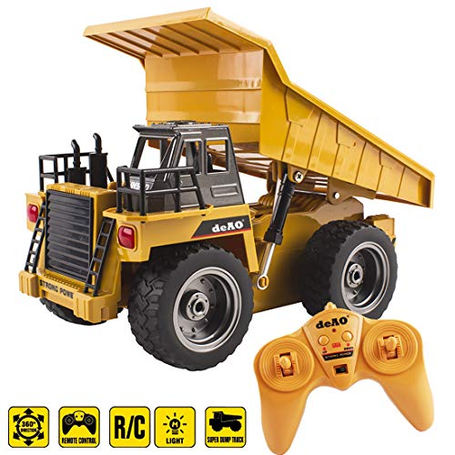deAO Remote Control 1:18 Die Cast Dumper Construction Truck Vehicle with 6 Channel and Lights Functions