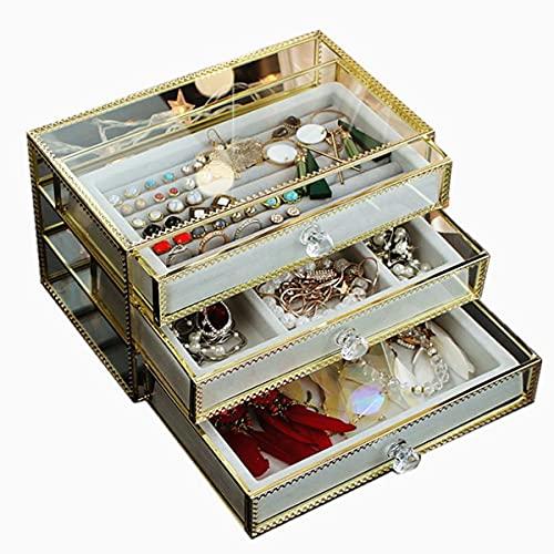 YAANGSI Joyero, Caja de Joyería de Cristal Transparente Grande, Caja de Almacenamiento, Pendientes, Pendientes, Horquillas, Clips de Orejas, Regalos