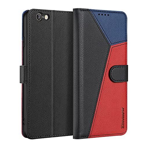 ELESNOW Funda para iPhone 6 Plus / 6s Plus con [Templado Protector de Pantalla] Carcasa Magnética Tarjetero Tapa de Cuero para Apple iPhone 6 Plus / 6s Plus - 5.5' (Negro/Rojo/Azul)