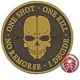 Cobra Tactical Solutions One Shot One Kill No Remorse I Decide Toppa Patch PVC Gancio e anello per Airsoft Paintball, per Abbigliamento tattico Zaino