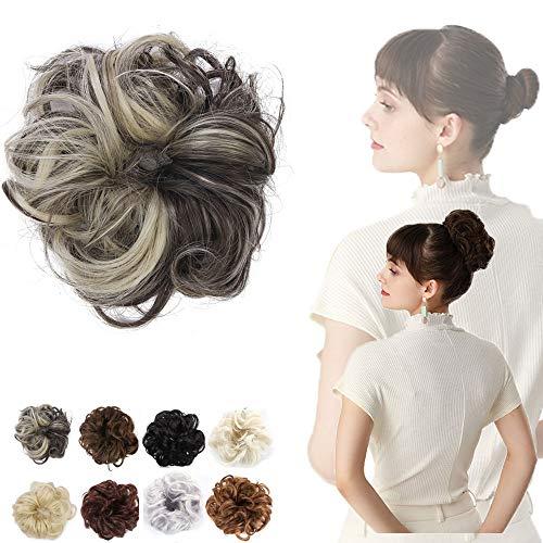 JQM Tousled Updo Messy Bun Haarteil, Fake Messy Curly Hair Scrunchies Mit Elastischen Gummiband Hochsteckfrisur, Soft Top Knot Haarteil Für Frauen Mädchen (Color : 4BH613)