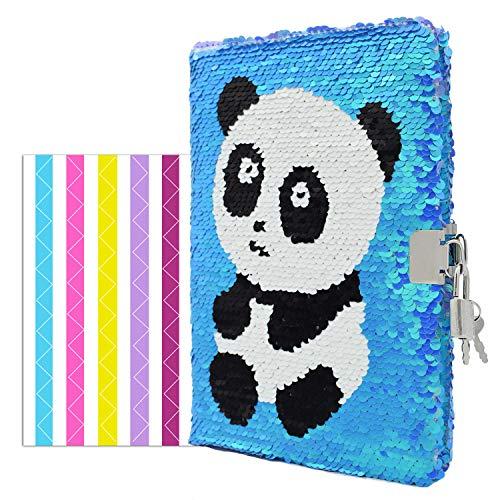 VIPbuy - Diario di viaggio reversibile con lustrini, con lucchetto e chiave, con angoli per foto, formato A5, Panda (blu a viola)