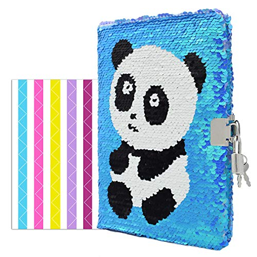 "VIPbuy Magic Reversible Sequin Notebook Diary Lined Travel Journal with Lock and Key for Kids Girls, Size A5 (8.5"" x 5.5""), 78 Sheets, Panda (Blue to Purple)"