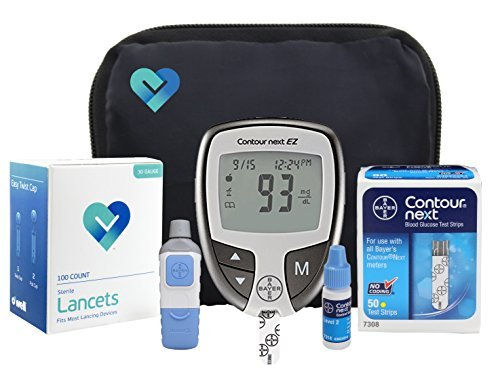 Contour Next EZ Diabetes Testing Kit | Contour Next EZ Blood Glucose Meter, 50 Contour Next Blood Glucose Test Strips, 50 O'WELL Lancets, O'WELL Lancing Device, LogBook, User Manual & Carry Case