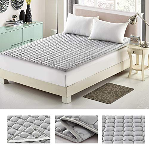 ZEHYRFGK dunne matrasoplegger, zachte anti-slip topper, ademend matras, comfortabel - 120 x 200 cm (47 x 79 inch), microvezel matrasbeschermer, donkergrijs, 1,2 x 2 m