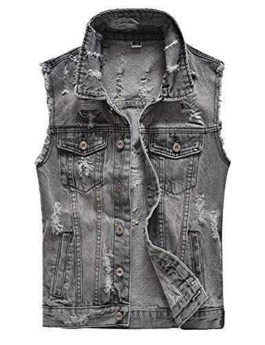 DSDZ Men's Sleeveless Ripped Denim Vest Casual Slim Fit Button Down Jeans Vests Jacket US L(Tag 5XL)