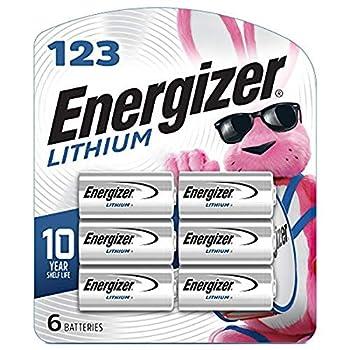 Energizer 123 Lithium Batteries 3V CR123A Lithium Photo Batteries  6 Battery Count