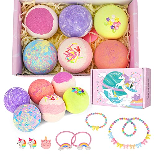 Canvalite Girls Bath Bombs with Surprise Inside 6 Pcs Unicorn Bath Bomb for Kids Skin Friendly Organic Bath Bombs Natural Spa Fizzy Bubbles Bath with Jewelry Toy Inside Girls Gift Set Fizz Balls