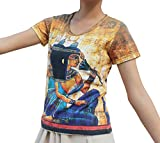 RaanPahMuang Egyptian Hieroglyphics Ancient Artwork Fine Art Print Ladies T-Shirt, Medium