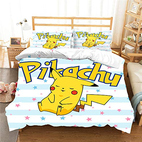 Meiju Duvet Cover Set Super Soft Cartoon Yellow Lightning Partner Print 3pcs, Microfiber Bedding Easy Care Single Double King Size Quilt Covers Pillowcases (Yellow elf,King-220x230cm)