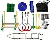 1UTech Ninja Slackline Monkey Bar Kit para Colgar árboles al Aire Libre, línea de obstáculos, Accesorios, Juego de Juegos para niños