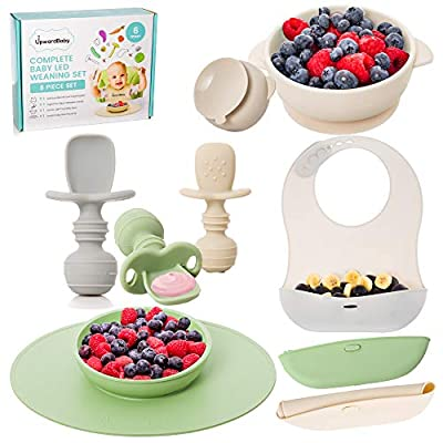 Baby Led Weaning Feeding Supplies for Toddlers - UpwardBaby Baby Feeding Set - Suction Silicone Baby Bowl - Self Eating Utensils Set with Spoons, Bibs, Placemat - Dishwasher-Safe Infant Food Plate Kit by UpwardBaby