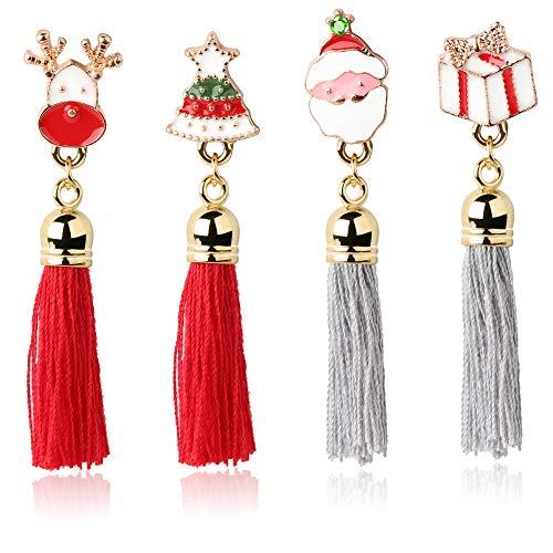 sailimue 4PCS Weihnachten Ohrringe Set für Männer Frauen Quaste Ohrstecker Weihnachten Glocken Baum Kristall Email Handwerk für Weihnachtsgeschenk Weihnachten