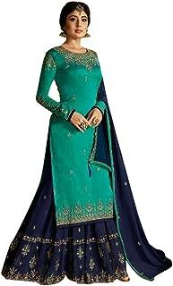 Sea green Ready to Wear Heavy Georgette Satin Straight Salwar Kameez Palazzo Suit Punjabi Muslim Dupatta 8622