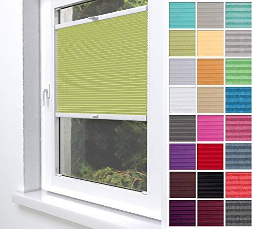 Home-Vision® Premium Plissee Faltrollo ohne Bohren zum Kleben Innenrahmen Blickdicht Sonnenschutz Jalousie für Fenster & Tür (Grün, B65 x H100cm)