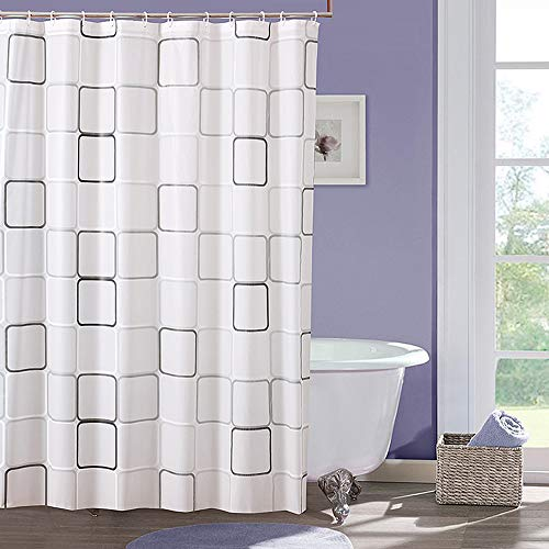 SSyang Duschvorhang Mehltau Beständiges Antibakterielles Badezimmer Vorhänge mit Haken Wasserdicht Badezimmer Duschvorhänge mit 12 Duschvorhängeringen und Beschwertem Saum(180 * 200cm)