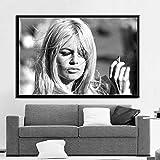 Cartel de Estrella de Cine Modelo de Actriz póster de Foto en Blanco y Negro decoración Retro en la Pared,Pintura sin marco-50X75cm