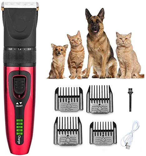 Hair Cutting Tool Dog Grooming Clippers for Pets, Cat Hair Trimmer Kit, Best Cordless Dog Clippers Low Noise, Professional Hair Clipper Set LCD digital display with 4 Comb,Red,Gold (Color : Red)