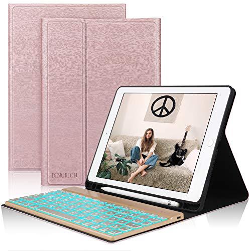 D DINGRICH Tastatur Hülle für ipad 2018, ipad 2017, ipad Pro 9.7, ipad Air 1, ipad Air 2, Hinterleuchtet- QWERTZ Tastatur- Stifthalter- Magnetisch Schlaf/Wach- iPad Hülle mit Tastatur - Rose Gold