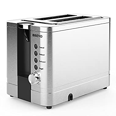 BREVO 2-Slice Extra Wide Slot Toaster for Bagel Breakfast with Reheat Defrost 7-Shade Control Brushed Stainless Steel