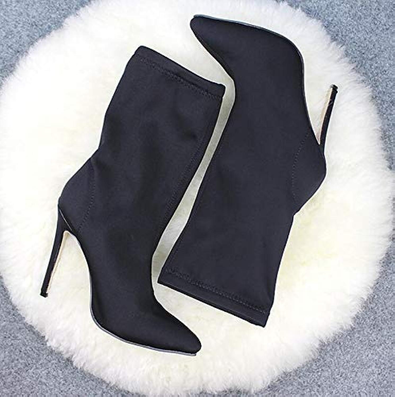 PINGXIANNV Spitze Stilettos High Heel Schuhe Frau Stiefel Gemischte Stiefelie Rot Schwarz  | Schönes Aussehen  | Billiger als der Preis  | Lebensecht