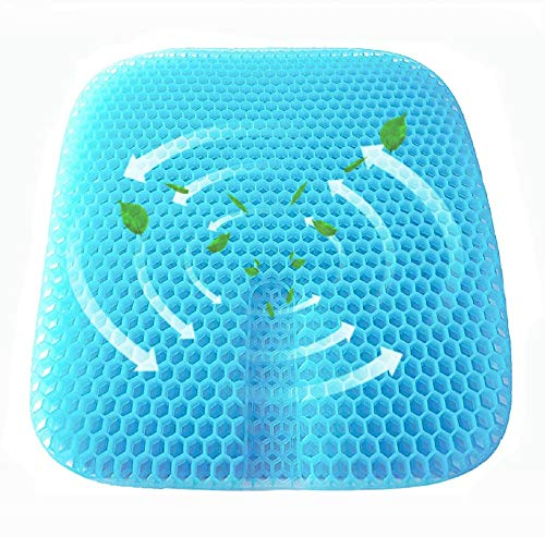 ETWBEOK Gel Seat Cushion, Honeycomb Double Thick Egg Seat Cushion with Non-Slip Cover, Gel Chair Pad for Relieves Sciatica Back Pain Suitable for Office Chair,Car,Wheelchair