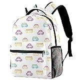 Colorido Dibujado a Mano Coches Patrón Escuela Mochila Viaje Casual Daypack para Mujeres Adolescentes Niñas Niños