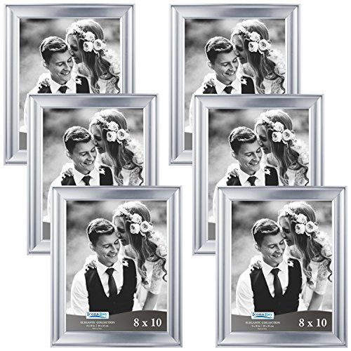 Icona Bay 8x10 Picture Frame (6 Pack, Silver), Silver Photo Frame 8 x 10, Wall Mount or Table Top, Set of 6 Elegante Collection